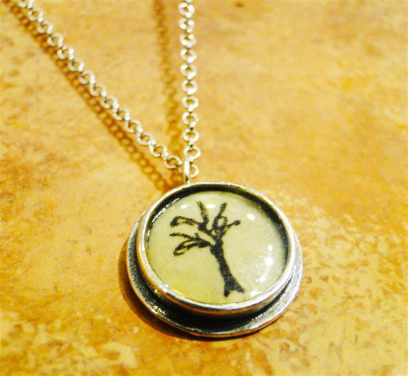 "Round Silver ""Tree of Life"" Necklace"