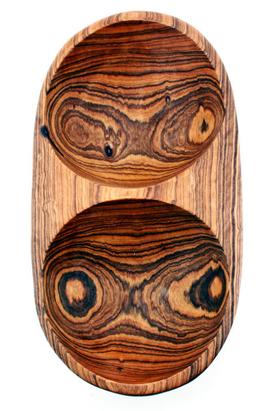 Olive Wood Double Dip Bowl