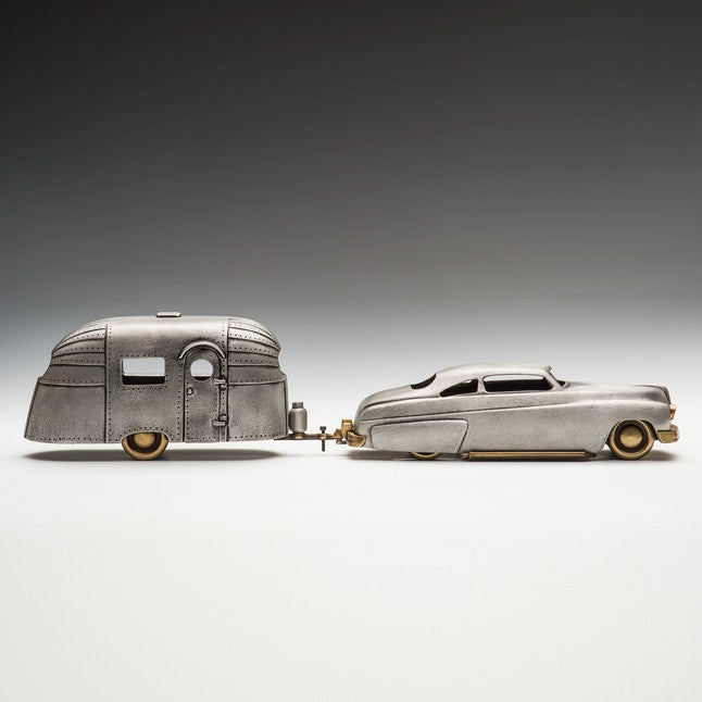 Cast Bronze and Aluminum 1949 Mercury and Aero Stream Trailer