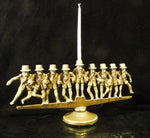 Nine Rabbis Dancing Bronze Menorah
