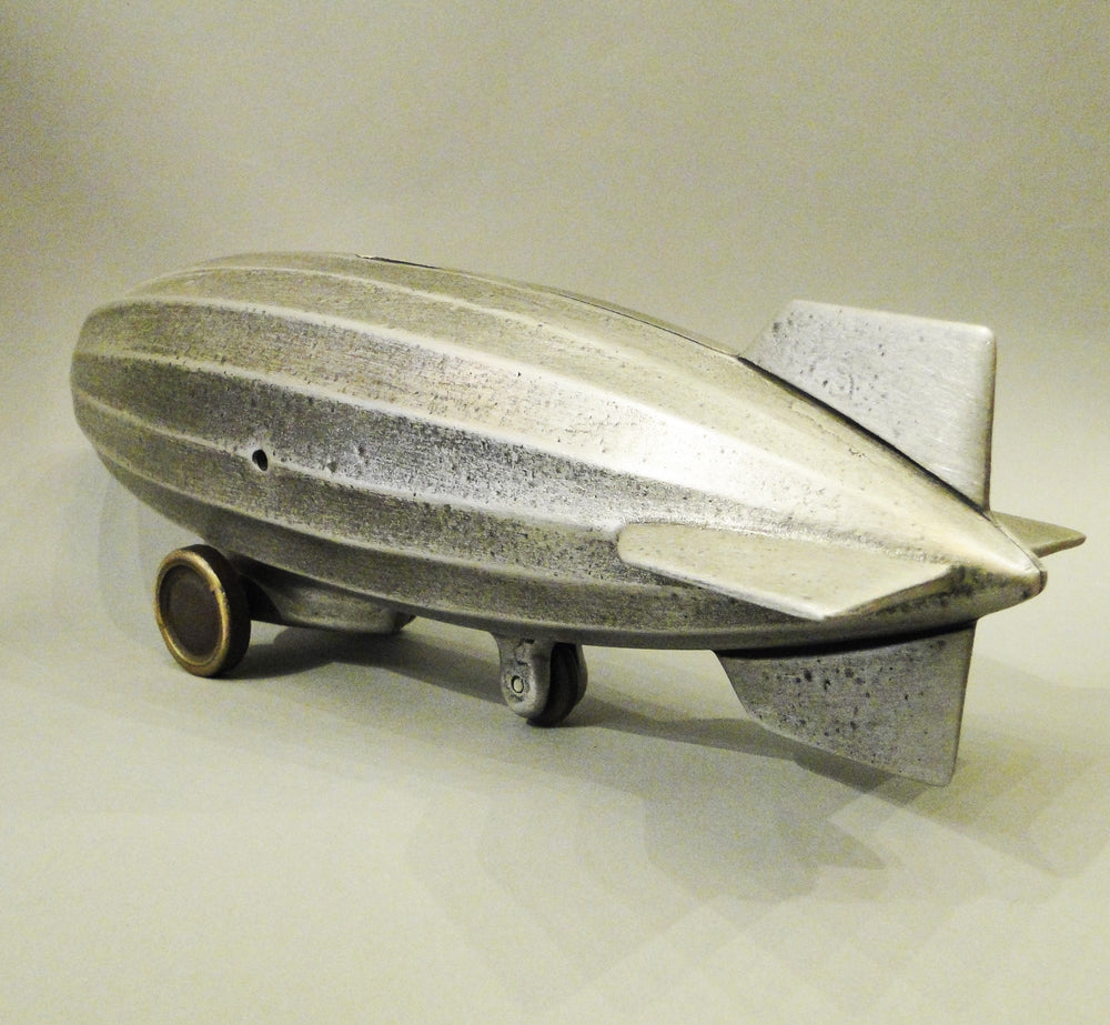 Cast Bronze and Aluminum Dirigible Bank on Wheels