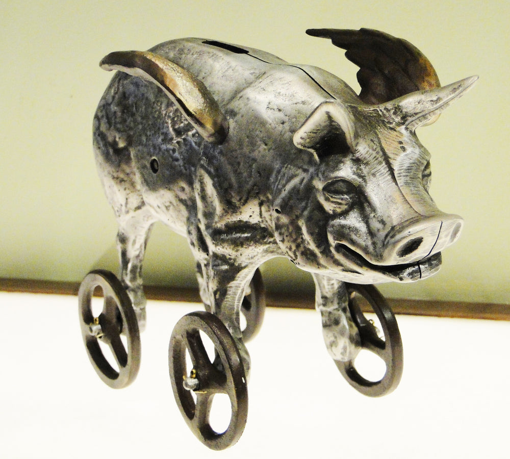 Cast Bronze and Aluminum Flying Piggy Bank on Wheels