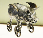 Cast Bronze Flying Piggy Bank on Wheels