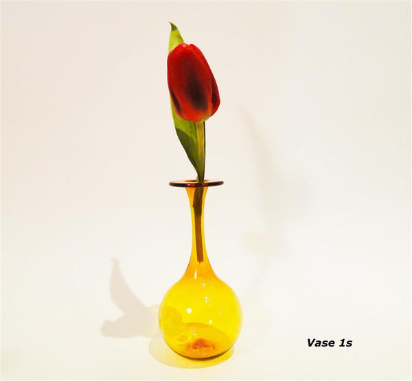Small Amber Narrow Neck Vase