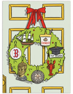 Massachusetts Wreath Christmas Card