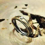 18K Gold and Oxidized Sterling Silver Bands Ring with Diamond