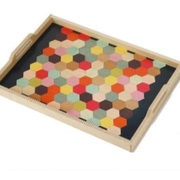 Rainbow Honeycomb Birch Wood Tray