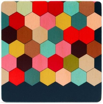 Rainbow Honeycomb Square Coaster Set of Four