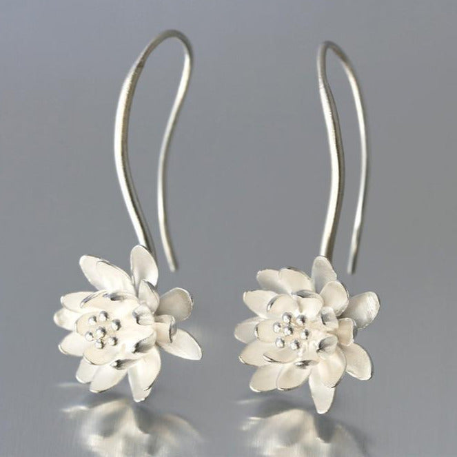 Water Lily Sterling Silver Loop Earrings