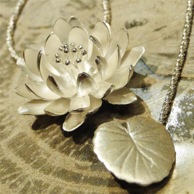 Large Water Lily Sterling Silver Pendant Necklace