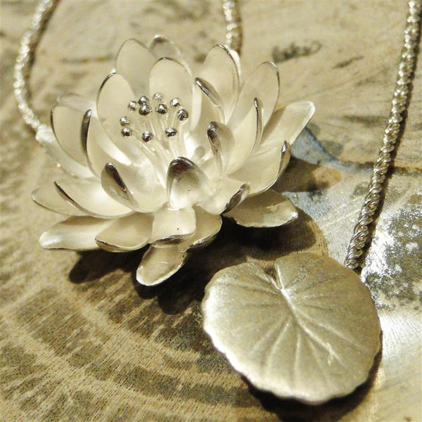Water Lily Sterling Silver Necklace