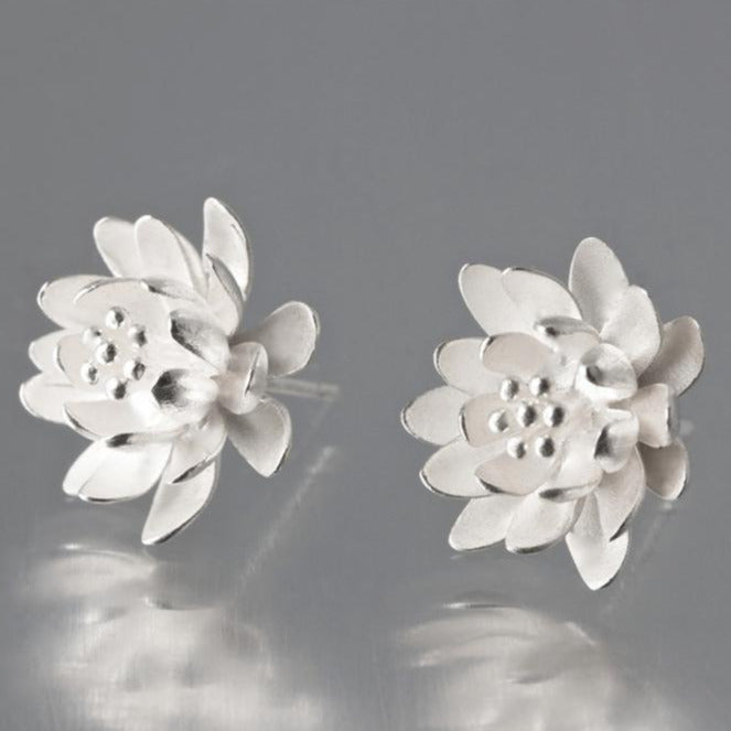 Waterlily Brushed Sterling Silver Studs