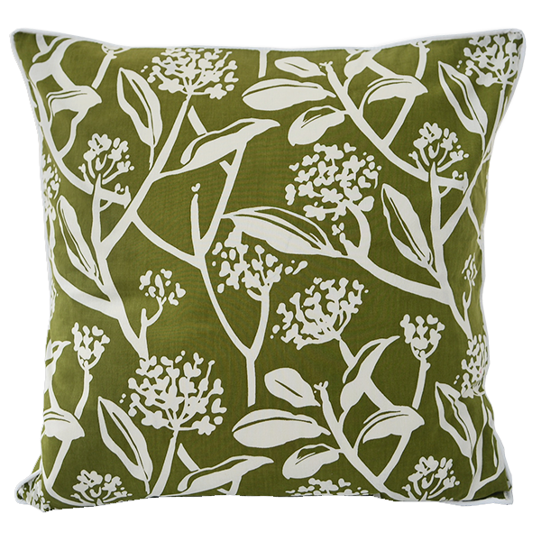 "Fair Trade Avocado Frangipani 18"" Square Pillow"