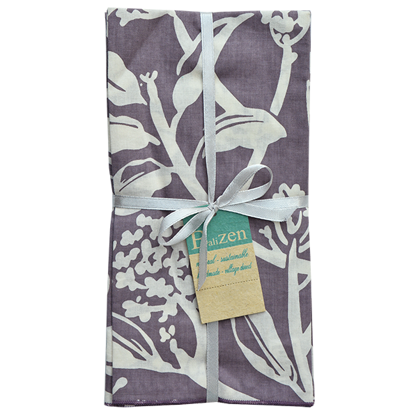 Fair Trade Set of Four Frangipani Flower Cotton Napkins