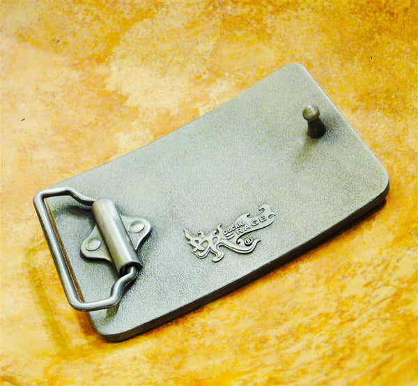 """Woof"" Recycled License Plate Belt Buckle"