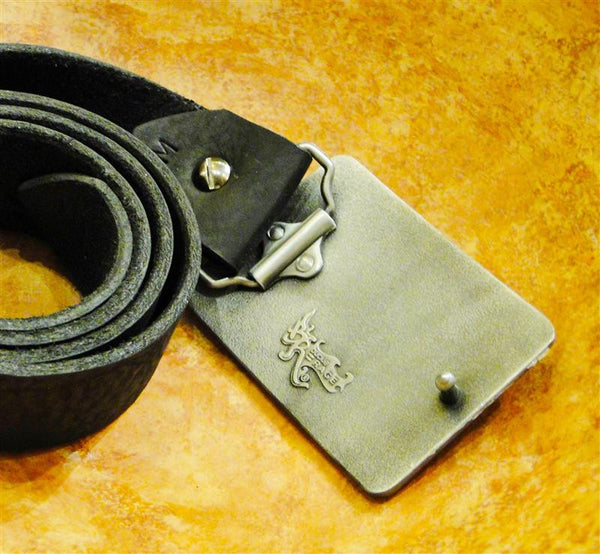 """Top Dog"" Recycled License Plate Belt Buckle"