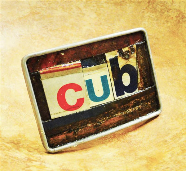 """Cub"" Recycled License Plate Belt Buckle"