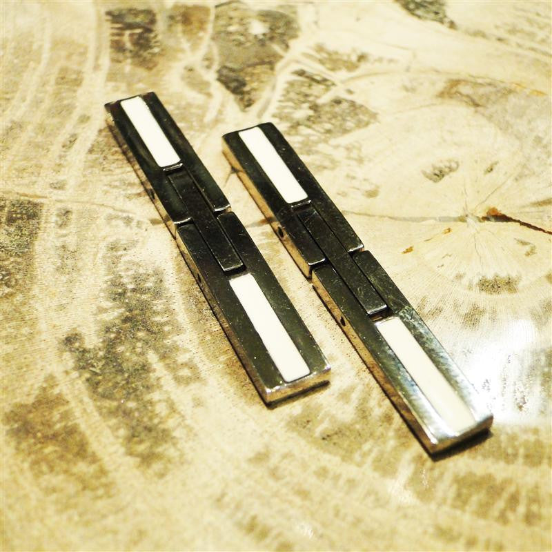 Rectangular Titanium & White Enamel Cufflinks