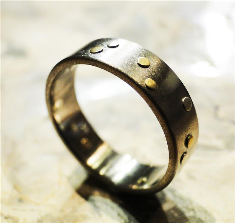Titanium, Sterling Silver and 18K Gold Rivets Ring