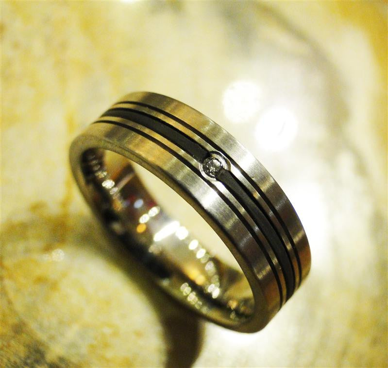 Stainless Steel and Rubber Inlay Ring with Diamond