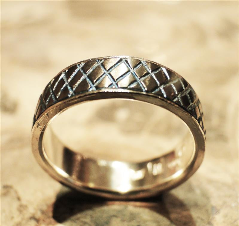 Titanium and Sterling Silver Flamed Tread Ring
