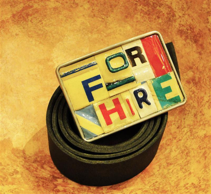 """For Hire"" Recycled License Plate Belt Buckle"
