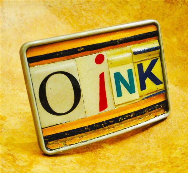 """Oink"" Recycled License Plate Belt Buckle"