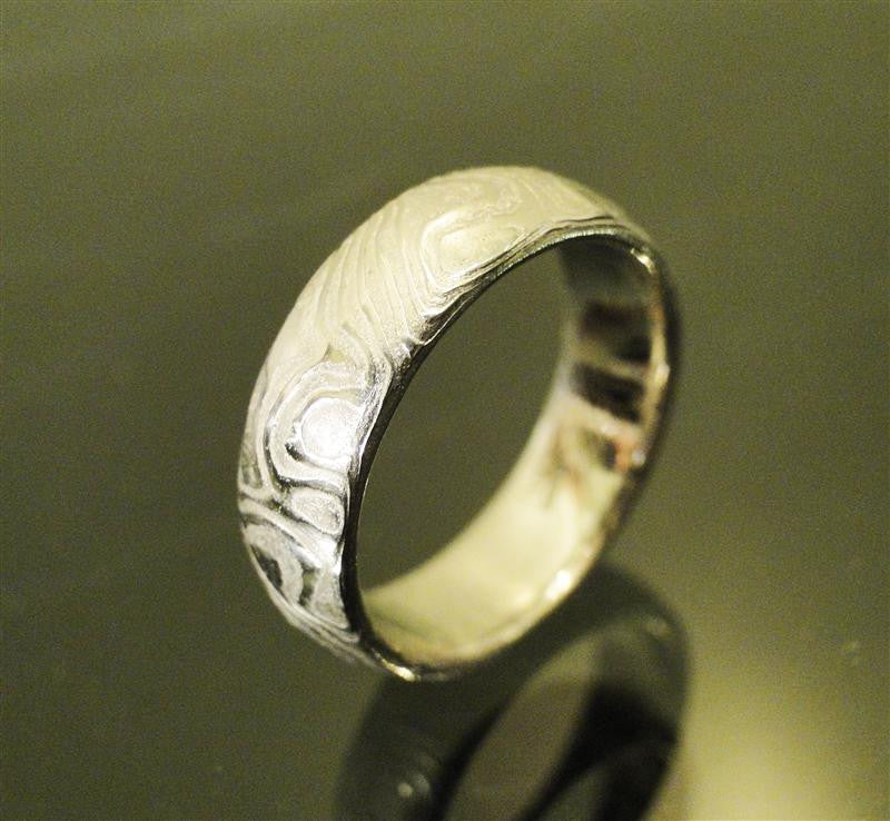 Etched Stainless Steel Mokume Ring