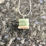 Square Stacked Aquamarine and Sterling Silver Necklace