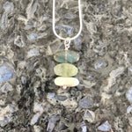 Short Stacked Aquamarine, Labradorite and Brushed Sterling Silver Stones Pendant Necklace
