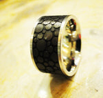 "Stainless Steel ""Bubbles"" Carbon Fiber Enamel Ring"