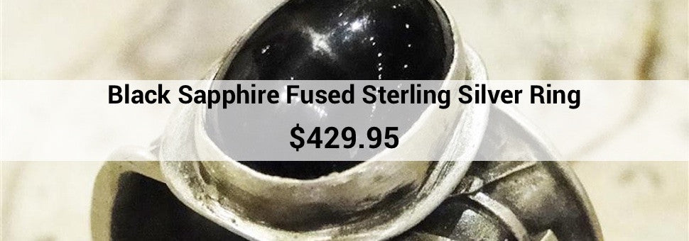 Black Sapphire Fused Sterling Silver Ring: $429.95