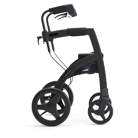 Fullonwalkers.com Triumph Mobility Small Matt Black Rollz Motion 2 Side View Rollator Walkers for Seniors SKU 510-2011RM0012