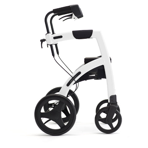 Fullonwalkers.com Triumph Mobility Regular Pebble White Rollz Motion 2 Side View Rollator Walkers for Elderly SKU 510-2010RM0010