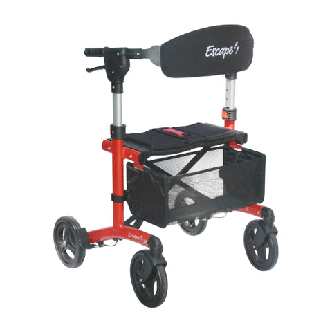 Fullonwalkers.com Triumph Mobility Red Black Escape Deluxe Super Low Main View Rollator Walkers for Seniors SKU 500-10195