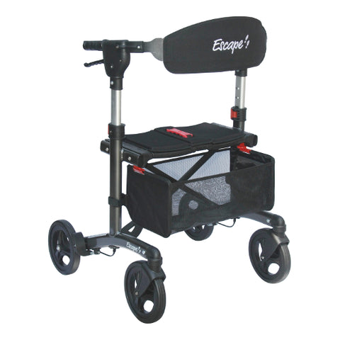 Fullonwalkers.com Triumph Mobility Charcoal Grey Escape Deluxe Main View Rollator Walkers for Elderly Deluxe Super Low SKU 500-10191