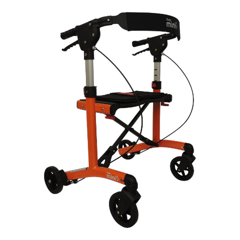 Fullonwalkers.com Triumph Mobility Orange Escape Mini Main View Rollator Walkers for Elderly SKU 500-20203