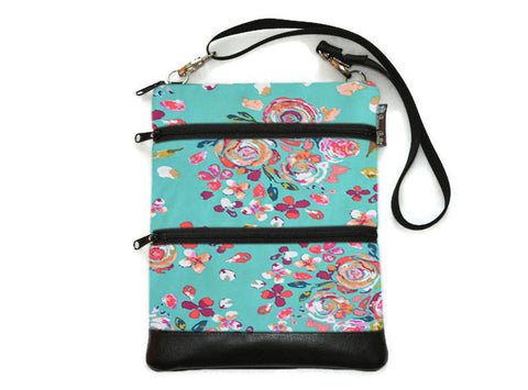 Travel Bags Crossbody Purse - Cross Body - Faux Leather - Tablet Purse - Bountiful Tal Fabric