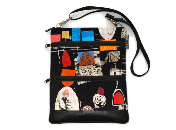 Travel Bags Crossbody Purse - Cross Body - Faux Leather - Tablet Purse -  Art Deco Fabric