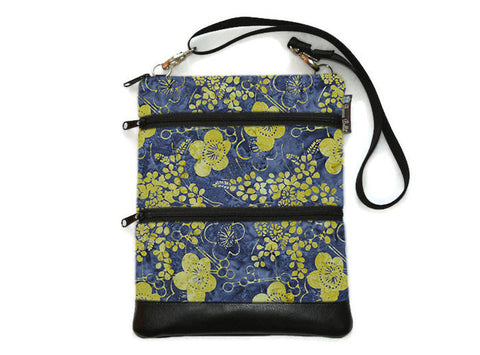 Travel Bags Crossbody Purse - Cross Body - Faux Leather - Tablet Purse - Daisy Does It Fabric