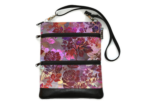 Travel Bags Crossbody Purse - Cross Body - Faux Leather - Tablet Purse -  Garden Rose Fabric