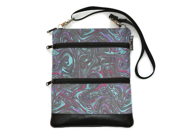 Travel Bags Crossbody Purse - Cross Body - Faux Leather - Tablet Purse - Midnight Ripple Fabric