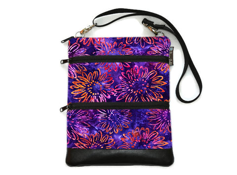 Travel Bags Crossbody Purse - Cross Body - Faux Leather - Tablet Purse -  New Purple Batik Fabric