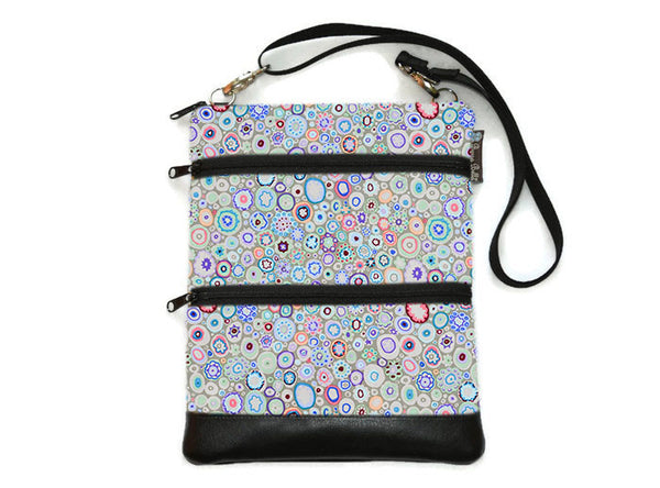 Travel Bags Crossbody Purse - Cross Body - Faux Leather - Tablet Purse -  Blanket of Blooms Fabric