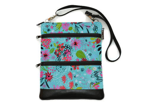 Travel Bags Crossbody Purse - Cross Body - Faux Leather - Tablet Purse - 3 Wishes Fabric