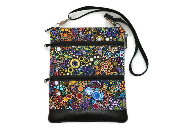 Travel Bags Crossbody Purse - Cross Body - Faux Leather - Tablet Purse - Happy Fabric