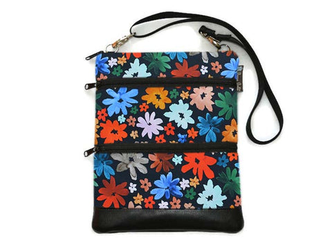Travel Bags Crossbody Purse - Cross Body - Faux Leather - Tablet Purse -  Wild Daisy Fabric