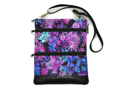 Travel Bags Crossbody Purse - Cross Body - Faux Leather - Tablet Purse -  Floragraphics Purple Fabric