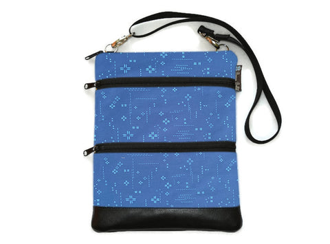 Travel Bags Crossbody Purse - Cross Body - Faux Leather - Tablet Purse - Bright Blue Crosshatch Fabric