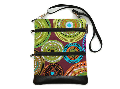 Travel Bags Crossbody Purse - Cross Body - Faux Leather - Tablet Purse -  Bohemian Jewels Fabric